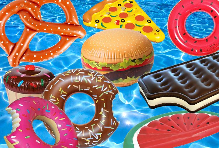 Materassini gonfiabili ispirati al food donut pizza - Materassini per piscina ...